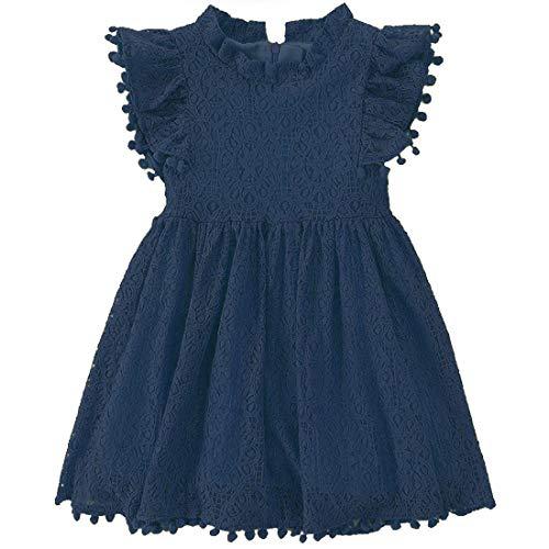 Niyage Toddler Girls Elegant Lace Pom Pom Flutter Sleeve Party Princess Dress Navy Bule 130
