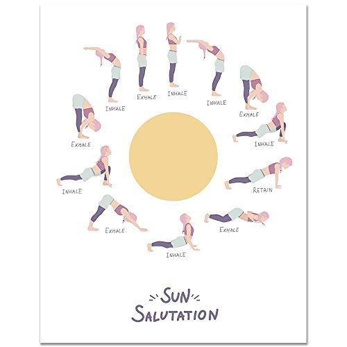 11x14 Home Yoga Inhale Exhale Sun Salutation Poster/Home Wall Decor/Essential Yoga Chart/Fitness Print/Meditation Illustration/Yoga Studio Art