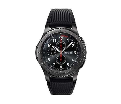 Samsung - Gear S3 Frontier Smartwatch 46mm - 4G LTE Version, Dark Grey SM-R765 - Leather Wrist Straps & Silicone Bands Included (Renewed)