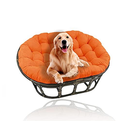 YHWL Cojines dobles Papasan, cojín para silla de huevo, cojines colgantes para silla con lazos, cojines para silla de columpio, solo para patio al aire libre, jardín (sin silla), naranja, 110 x 160 cm