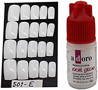 20 Pcs Personal/Professional Reusable False French Nails With Glue(501E)