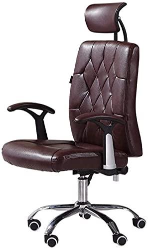 TAIDENG Silla de oficina, silla de escritorio, silla de ordenador, silla reclinable, silla de ordenador, silla de oficina en casa, silla giratoria de cuero multifunción (color: marrón)