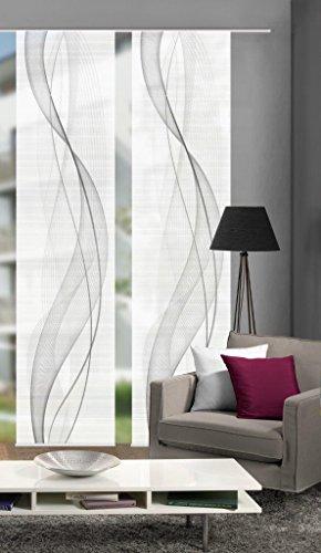 Vision S 55333-0307 | 2er-Set Schiebegardine Heights | halb-transparenter Stoff in Bambus-Optik | 260x60 cm | Farbe: Grau