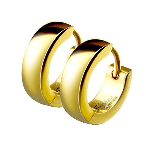 Mianova Unisex Creolen Edelstahl Damen Herren Klapp-Verschluss Schmale Ohrringe Huggie Kreolen Stecker Ohrstecker zum Klappen rund 4mm breit Gold
