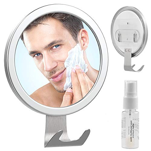 Fog Free Shower Mirror, LUXEAR Anti Fog Adhesive Round Shaving Mirror with Fogless Spray Razor Holder Easy Mirrors Viewing Ideal for Bathroom Home Wall Traveling, Shatterproof