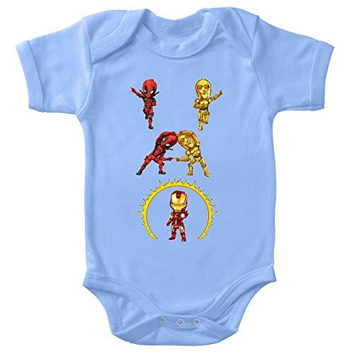 Body bébé Manches Courtes Garçon Bleu Parodie Star Wars - Iron Man - Deadpool, C-3PO et Iron Man - Cyber Fusion !! Yaaahaaa ! (Body bébé de qualité supérieure de Taille 12 Mois - imprimé en France)