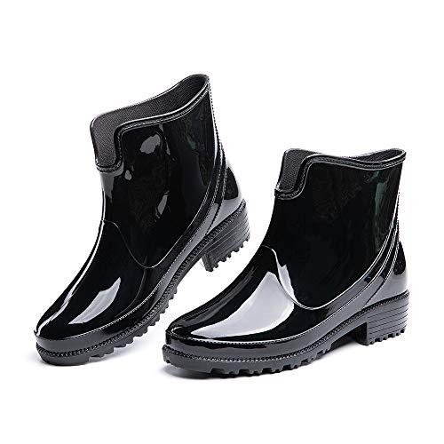 Botas de Agua Mujer Botines Lluvia Goma Jardín Trabajo Impermeables Chelsea Boots Antideslizante Cómoda Negro Talla41