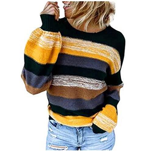 SHOBDW Barato Sudadera Mujer Camiseta Largos 2021 Invierno Elegante Patrón Etnico Empalme Moda Mujer Casual Jerseys Espesar Pullover Sudadera Tops Talla Grande Liquidación Venta(Amarillo,XL)