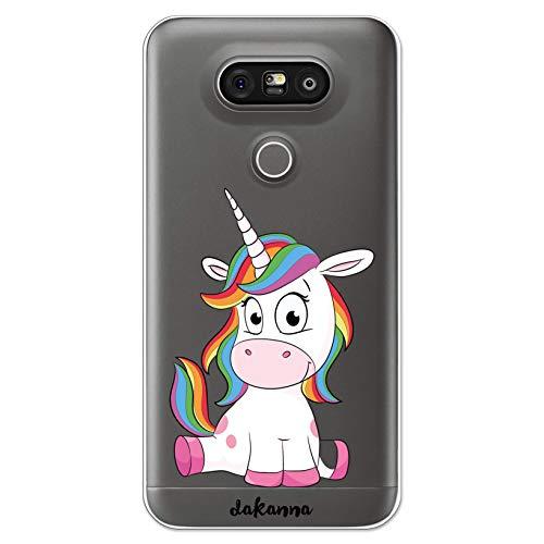 dakanna Funda Compatible con [LG G5 - G5 SE] de Silicona Flexible, Dibujo Diseño [Unicornio Sonriente], Color [Fondo Transparente] Carcasa Case Cover de Gel TPU para Smartphone