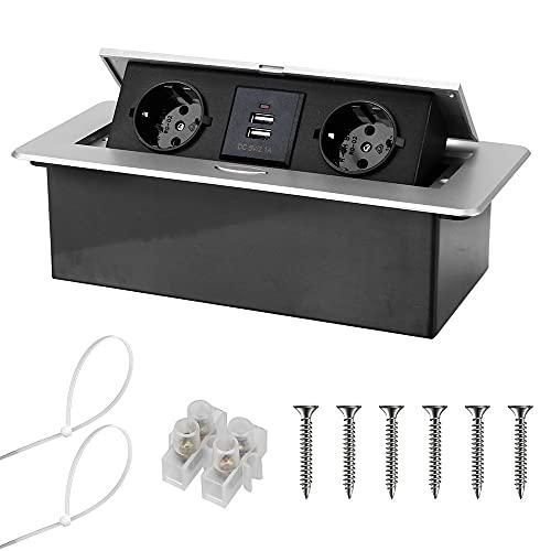 DIYWORK Enchufe oculto para casa y sala de reuniones, enchufe pop-up de aleación de aluminio, 2/3 enchufes, 220 V, 16 A (2 enchufes y 2 puertos USB, plateado)