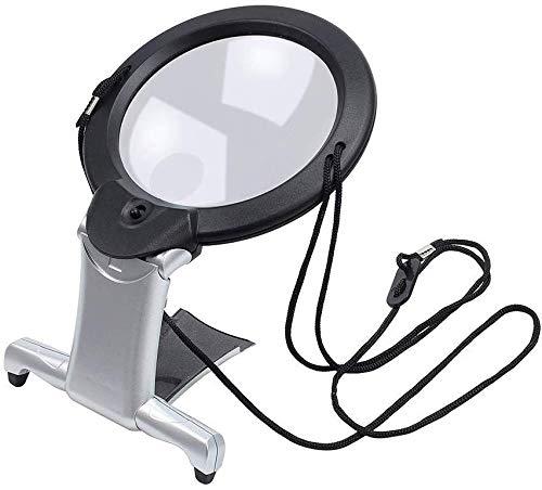 AJINS Lente de Aumento Espejo Lupa de Doble propósito Lupa de Manos Libres Grande Lectura con luz LED Lupa 2 en 1 Lupa Manos Libres para Leer Manualidades de Costura Handcraf