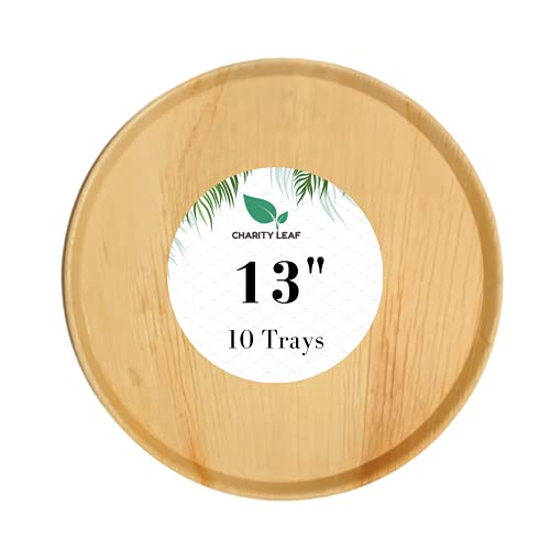 Charity Leaf Disposable Palm Leaf Like Bamboo Round Large Platter Serving Tray  All Natural and Biodegradable   Charcuterie Boards, Weddings and Catering   13' Inch Round Flat (10 Trays)