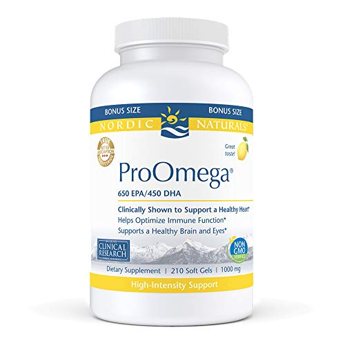 Price comparison product image Nordic Naturals ProOmega,  Lemon Flavor - 1280 mg Omega-3-210 Soft Gels - High-Potency Fish Oil with EPA & DHA - Promotes Brain,  Eye,  Heart,  & Immune Health - Non-GMO - 105 Servings