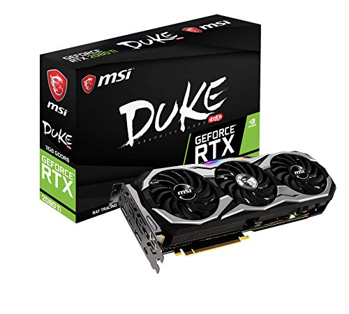 MSI GeForce RTX 2080 Ti DUKE 11G OC - Tarjeta gráfica Enthusiast (PCI-E 3.0, Torx Fan 2.0, Zero FROZR, 11 GB GDDR6, 352-bit, 4352 Core Units, 1350 Mhz Core Clock, MSI Afterburner, RGB Mystic Light)