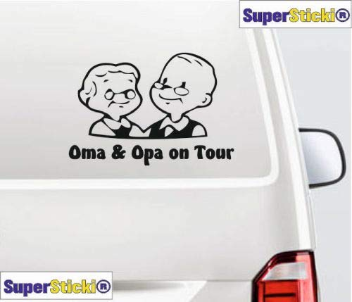 SUPERSTICKI Oma & Opa on Tour Rentner Ca 30 Wohnmobil Camper Wohnwagen Womo Mobile Camping Autoaufkleber Sticker Womo Wowa