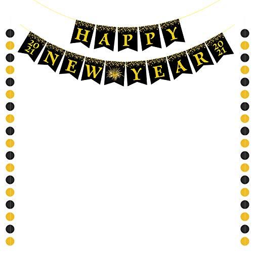 SEELOK Happy New Year Banner 2021 Happy New Year Gold and Black Sparkling Circle Garland Decoración colgante Banner Nochevieja Decoraciones navideñas Árbol de Navidad Decoración de la pared del techo