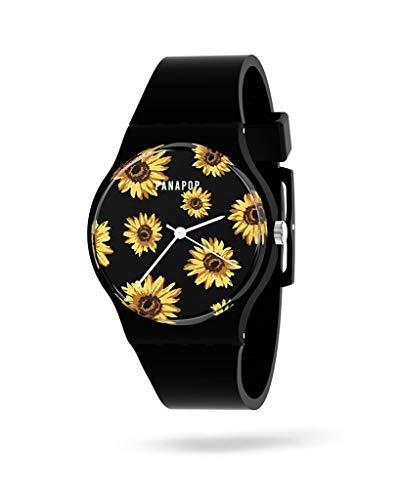 Montre pour femme PNP Watches - Montres pour femme - Bracelet analogique pour femme - Bracelet en silicone - Montres pour femme étanches - Panapop, Kea - Noir, Bande
