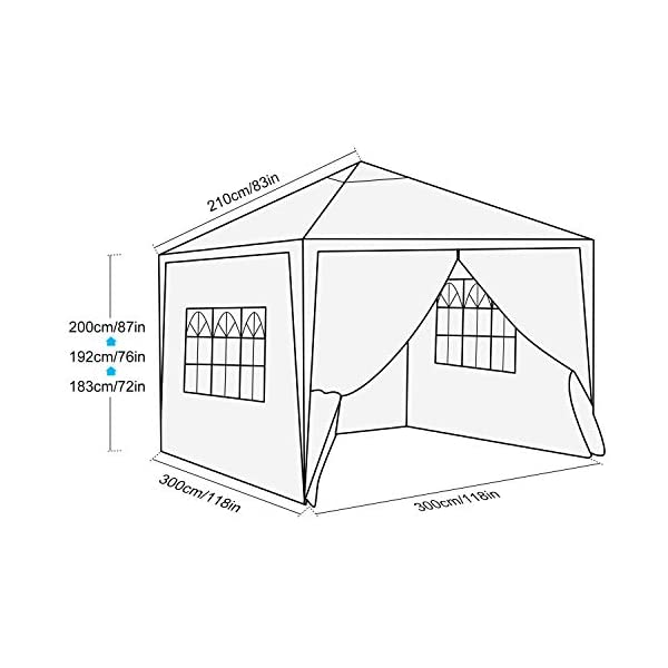 Bunao 3x3m/ 3x6m Pop Up Garden Canopy Waterproof Gazebo Camping Tent Shelter Outdoors 1