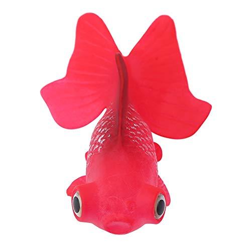HEEPDD Peces Artificiales, decoración plástica del Acuario del silicón de los Pescados flotantes para la decoración del Tanque de Pescados(Red Goldfish No. 5)