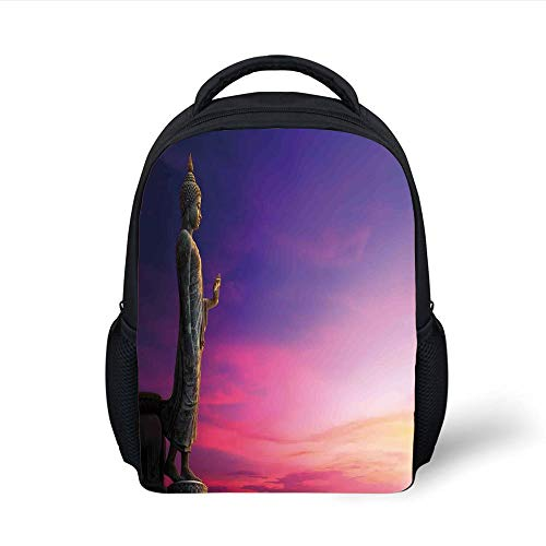 Kids School Backpack Asian Decor,Standing Statue on Fairy Sunset Famous Ancient Asian Heritage Picture Canvas Decor,Multi Plain Bookbag Travel Daypack