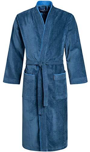 Morgenstern Herren-Bademantel Peer aus Bio Baumwolle in Blau Haus Mantel wadenlang Frottee Bademantel Grösse M