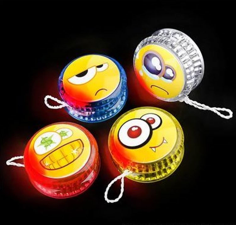 2  FLASHING EMOTICON EMOJI SMILE FACE YOYO ASSORTMENT 12 PACK, 1 DOZEN