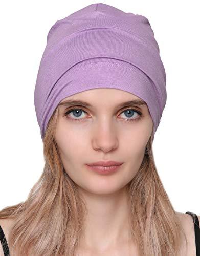 Deresina - Cuffia unisex da riposo per chemioterapia, perdita di capelli e alopecia Lavanda Taglia unica