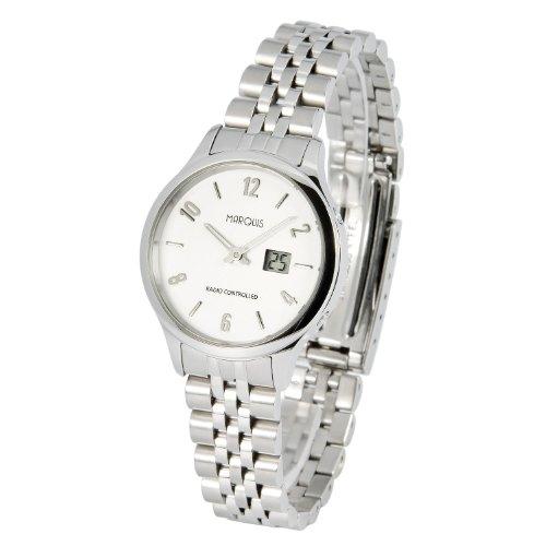 Elegante MARQUIS Damen Funkuhr (Junghans-Uhrwerk) Gehäuse und Armband aus Edelstahl 964.4713