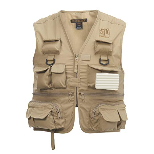 SJK Youth Lure Fishing Jacket, 26 Pockets, Quick Dry Fabric, Rod Holder, Removable Fly Patch, Kids