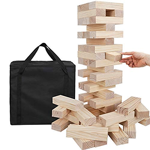 54 Pieces Giant Toppling Tumble Tower Blocks Game (2.5 ft to Over 5 ft) Wood Stacking Game Tumbling Timbers Outdoor Yard Game, Carry Bag