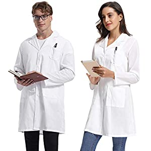 Hawiton Bata de Laboratorio para Hombre y Mujer Bata de Laboratorio para Mujer Doctores Bata Blanca Bata de Laboratorio Uniforme Escolar Abrigo de Estudiantes