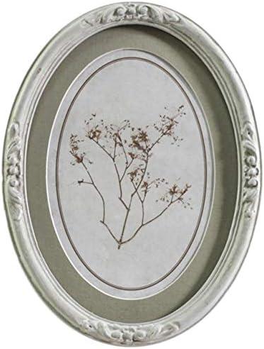 Chic Antique Denmark Ingelijste afbeelding oud Frans Frame plantendruk ovaal patinagroen cr egrave;me 19cm klein