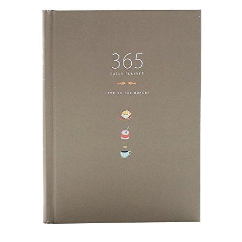 Linda 365 Días Planner recargas diario semanal mensual Calendario Calendario portátil Bound To-Do List libro agenda escolar Organizador de escritorio, Cafetería