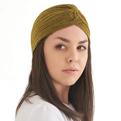 CHARM Casualbox | Glitzer Mode Turban Hut Twist Boho Bandana Arabisch Festival Chemo Hut Gold
