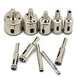 BIGP - Juego de 10 brocas de diamante, 6 mm a 32 mm, con revestimiento de diamante, para azulejos de mármol y cerámica
