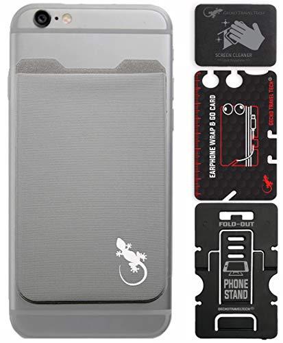 El Monedero Adhesivo Gecko para teléfonos celulares, Diseño Ultra Slim (Ultra Delgado) & Custom (Personalizado) en Color Gris