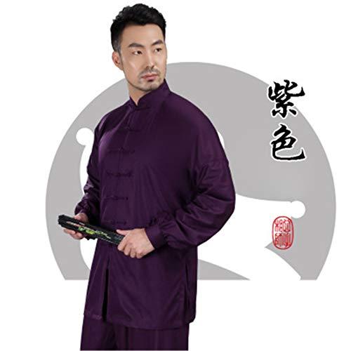 Taiji Uniforme Classico Kung Fu Uniformi di Arti Seta Marziali Arti Marziali Taichi Practice Abbigliamento per Uomo 7 Colori,Purple,XXL