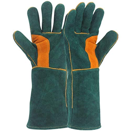 WFSH Fire Gloves, Leather With Perfect For Fireplace, Stove, Oven, Grill, Welding, BBQ, Mig, Pot Holder, Animal Handling Gloves,1Pair
