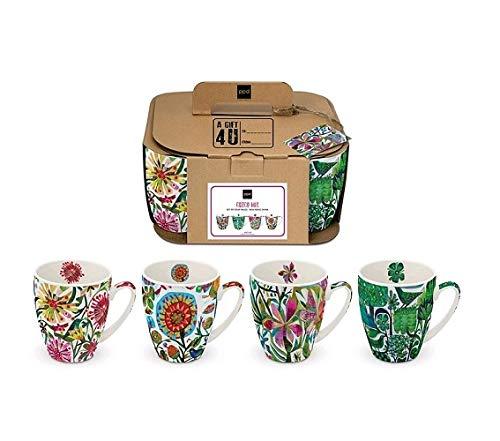 E+N Cuzco Tropical - Juego de tazas (4 unidades, en caja de regalo, 10,8 x 9 cm, 0,35 L, porcelana), diseño de flores, multicolor