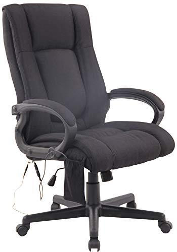 CLP Bürostuhl XL Sparta XM Stoff I Drehbarer Chefsessel Mit Massagfunktion I Drehstuhl Mit Wippmechanismus I Max. Belastbarkeit 140 kg, Farbe:schwarz