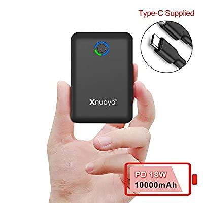 Xnuoyo PD 18W Mini Power Bank 10000mAh, Quick Charge 3.0 Portable Charger USB C Input/Output External Battery Pack High Capacity Powerbank Compatible with Most Smart Phones (black)