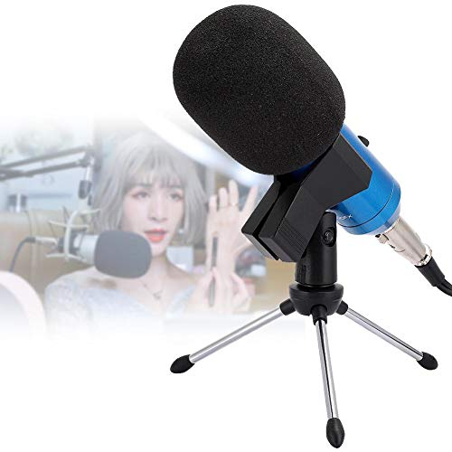 idalinya Micrófono de Mano con trípode Micrófono con Cable Condensador cardioide Grabación rápida de Voz Reverberación incorporada para Karaoke