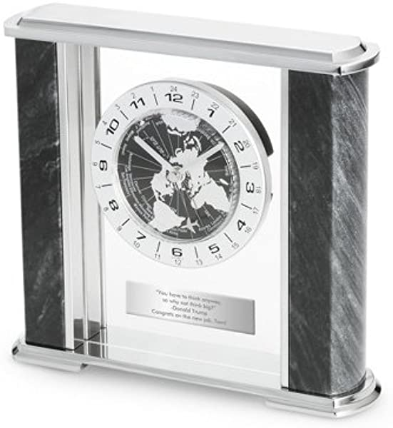 Things Remembered Personalized Black Marble World Clock With Engraving Included