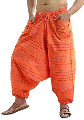 Sarjana Handicrafts Men's Cotton Harem Genie Dance Yoga Alibaba Hippie Pants (Free Size, Orange)