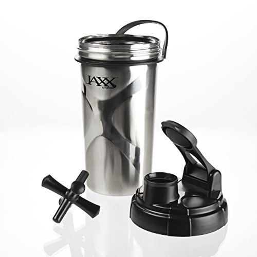 Fit & Fresh Jaxx Stainless Steel Shaker Bottle,with Patented Jaxx Agitator for Smooth Protein Shakes, 24-Ounces