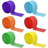 6 Rotoli di Carta Crespa, Filanti per Feste, Decorazioni per Appendere, Stelle Filanti Colorata di Partito Decorazioni Appese per Compleanno Feste Nozze e Celebrazione