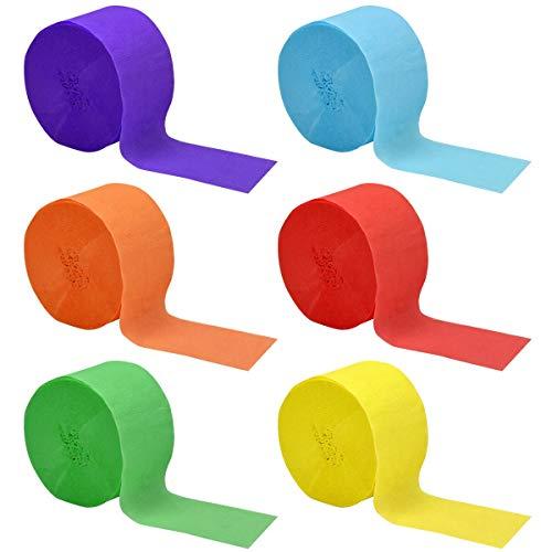 kissral 6 Rollen Krepppapier Bunt Kreppbänder Luftschlangen für Partys, Festivals, Versammlungen von Freunden, Kindergeburtstage