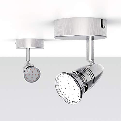 NEUE DAWN Lámpara de techo con 1 bombilla LED GU10 de 3 W, Foco de techo y pared ajustable y giratorio para interiores, luz blanca cálida, color metálico