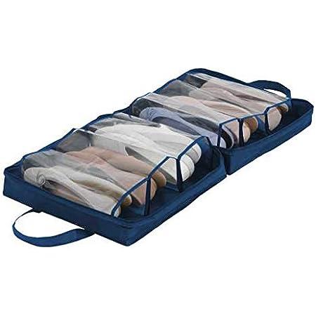 WENKO Custodia per scarpe da viaggio Business - Sacca portascarpe, borsa portascarpe con 6 scomparti, Poliestere, 36 x 36 x 14 cm, Blu