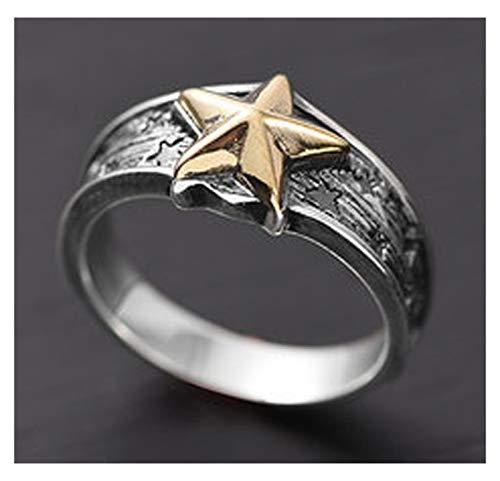 RXISHOP Anillo de plata S925 para hombres y mujeres, estrella de cinco puntas, anillo punk, estilo retro, para novio y padre, anillo de regalo de la suerte 13-23# 23#